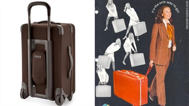 Un anuncio de las primeras maletas con ruedas junto a una maleta actual.